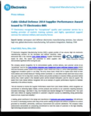 PR_TT_Electronics-IMS_Awarded_Cubic_Performance_Award_2014_1